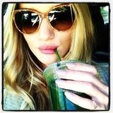 Rosie Huntington-Whiteley sipped on some green juice. Source: Twitter user RHW