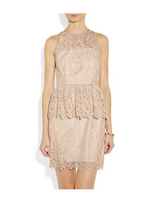 This soft lace Milly Liza Floral-Lace Peplum Dress ($420) was made for the most romantic of occasions — of course, that can also mean getting dressed up and pouring a glass of vino at home.