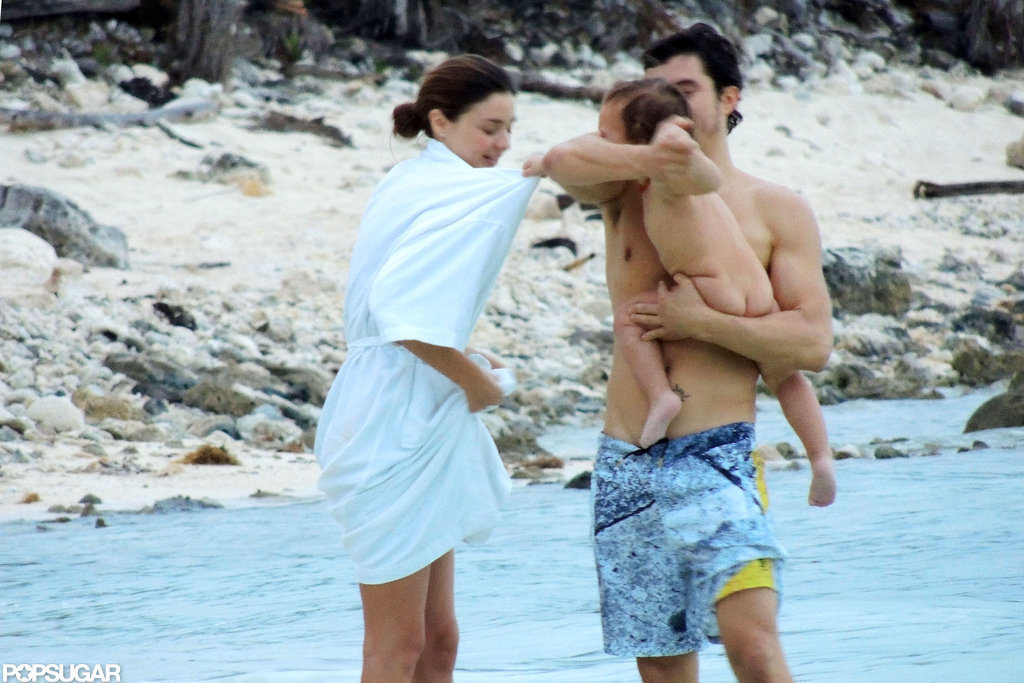 Miranda Kerr, Orlando Bloom, and Flynn played around in the water together.