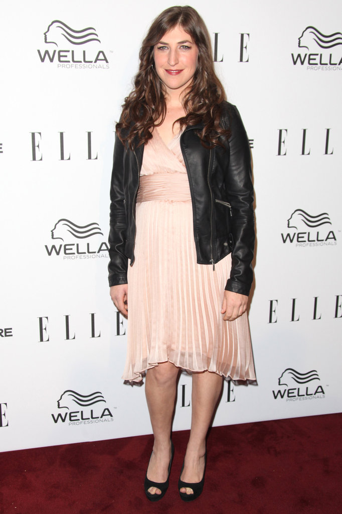 Mayim Bialik wore a leather jacket on the red carpet.