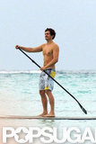 Orlando Bloom went shirtless in Mexico.