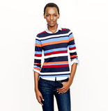 As this model shows, you can pair this J.Crew Colorblock Top in Stripe ($18, originally $68) over a button-down for these colder days. And you can also rock it later into Spring by itself — and a pair of denim cutoffs.