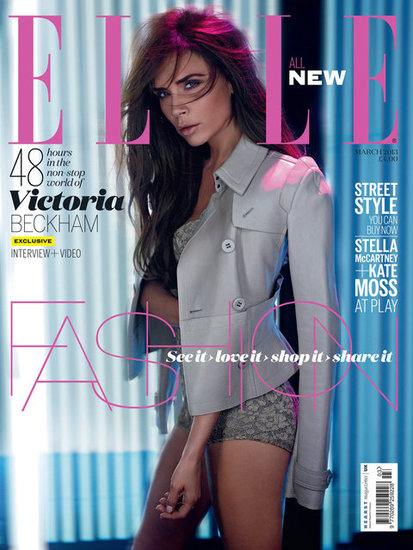 Victoria Beckham struck a stunning pose for the cover of March 2013's Elle UK.