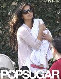 Camila Alves cradled Livingston McConaughey.
