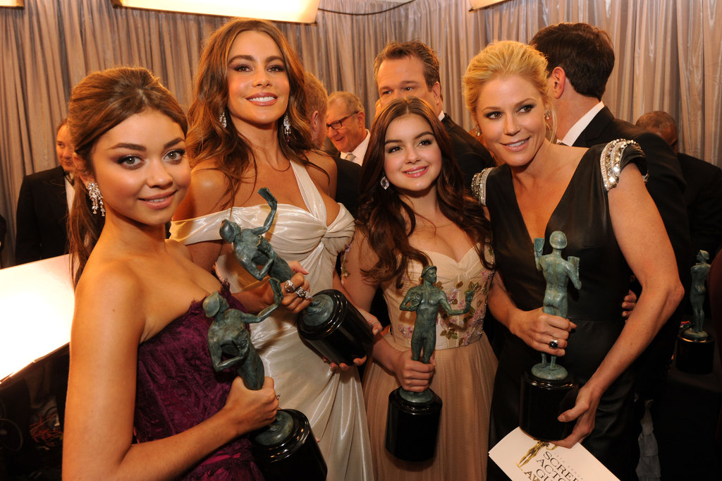 The ladies of Modern Family showed off their statues backstage.