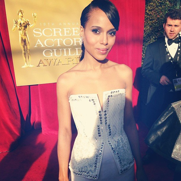 Kerry Washington looked lovely in white. Source: Instagram user sagawards