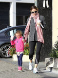Jennifer Garner held onto Seraphina's hand outside of Starbucks.