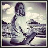 Candice Swanepoel reported for duty on a boat for Victoria's Secret. Source: Instagram user angelcandices