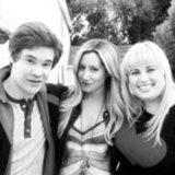 Super Fun Night costars Adam DeVine, Ashley Tisdale, and Rebel Wilson posed together. Source: Twitter user ashleytisdale