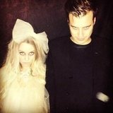 LC and William Tell dressed as spooky ghosts for Halloween. Source: Instagram user laurenconrad