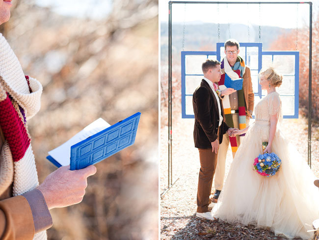The Fourth Doctor scarf and River Song's journal make up the scenes in the vows ceremony.  Source: Candice Benjamin Photography via Green Wedding Shoes