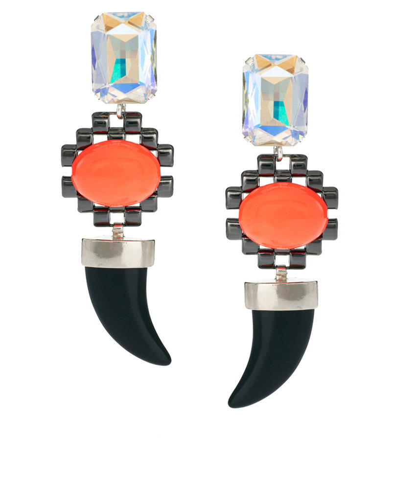 Statement earrings are top of the list for a season –- nothing perks up an outfit faster. These  ASOS Collection Pastel Horn Doorknocker Earrings ($32) are edgy and girlie with a dose of sparkle. — Chi Diem Chau, shopping editor
