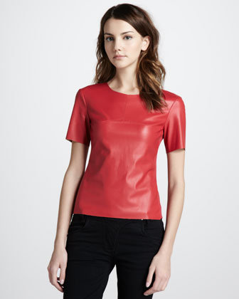 There are so many things I love about this  BCBG Max Azria faux-leather top ($148). The fitted silhouette pairs well with everything from skinny jeans to flared skirts, the bold red color is ideal for any season (especially Valentine's Day), and most of all, the price point is budget-friendly. — Mandi Villa, contributing editor