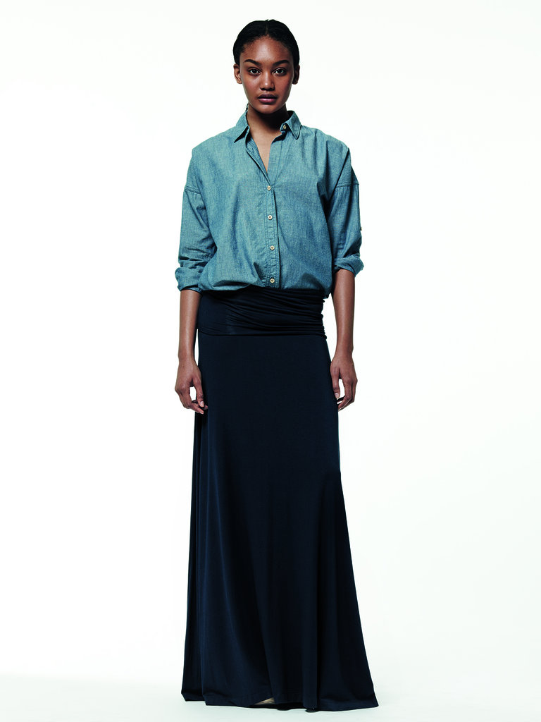 The juxtaposition of denim and a long cotton maxi skirt is a cool-girl combo for Summer.