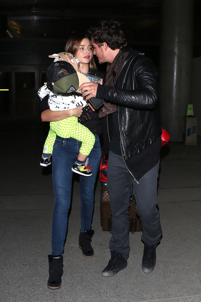 Miranda Kerr, Orlando Bloom and Flynn landed at LAX after a Mexican family getaway.