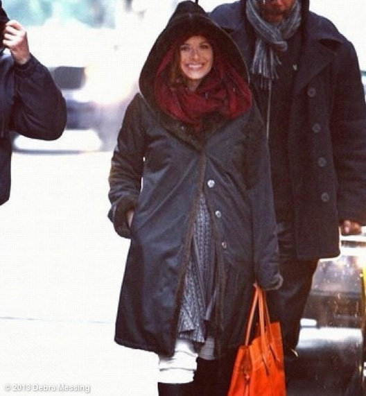 Debra Messing bundled up on the set of Smash. Source: Debra Messing on WhoSay