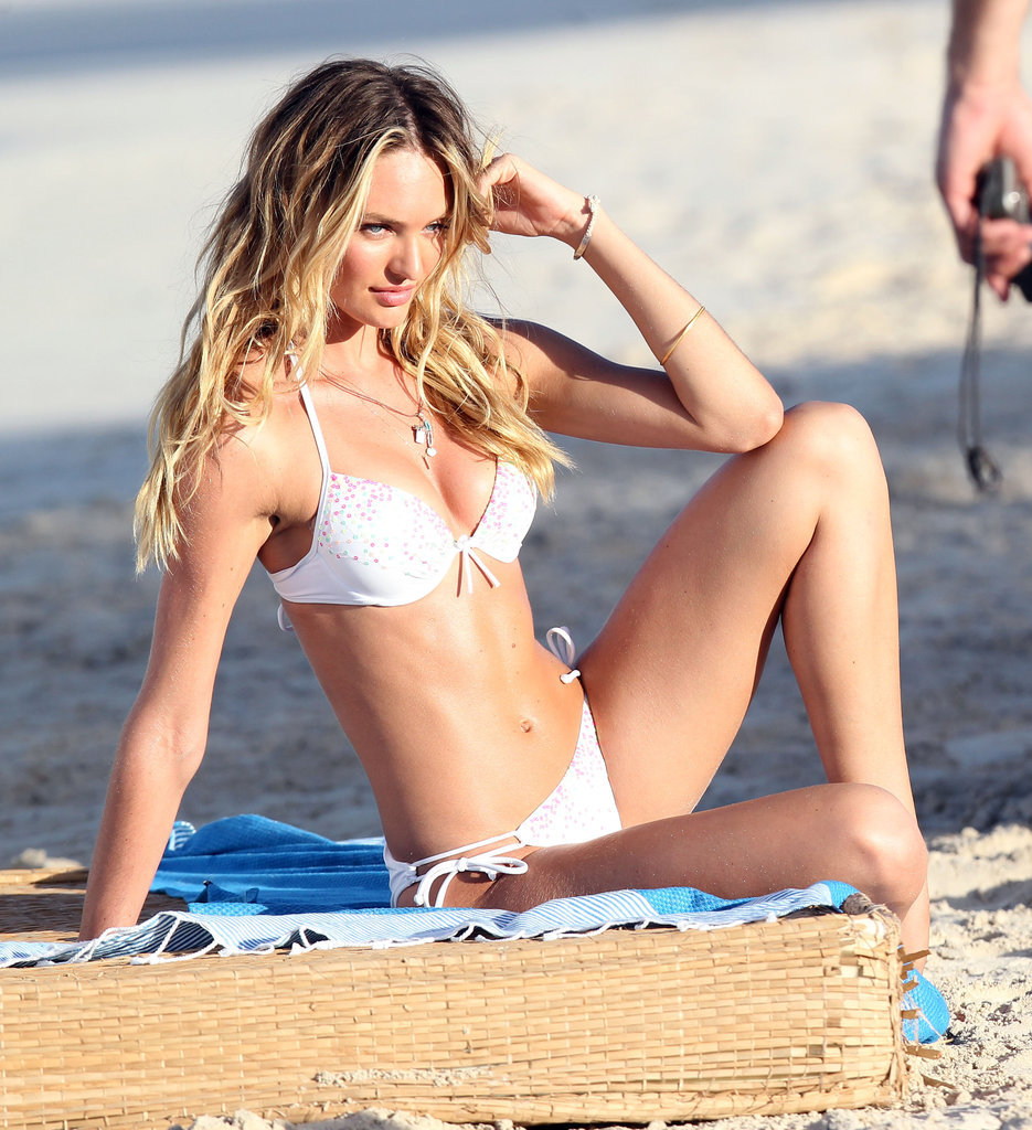 Candice Swanepoel posed for a Victoria's Secret shoot on the beach in St. Barts.