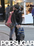 Marion Cotillard kissed Guillaume Canet while they shopped with Marcel Canet.