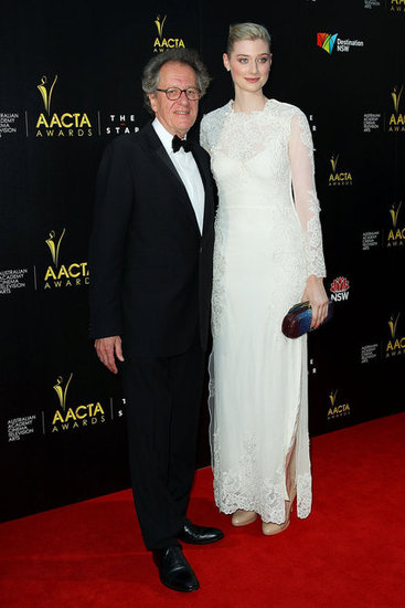 Geoffrey Rush walked down the red carpet with Elizabeth Debicki.