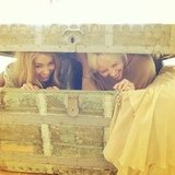 Lauren Conrad goofed around in an antique treasure chest with a friend.  Source: Instagram user laurenconrad