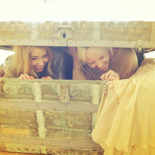 Lauren Conrad goofed around in an antique treasure chest with a friend.  Source: Instagram user laurenconrad