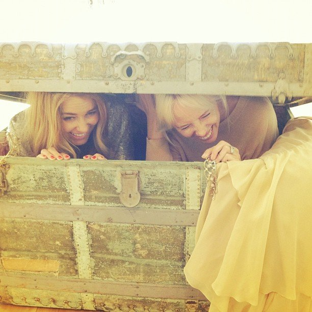 Lauren goofed around in an antique treasure chest with a friend.  Source: Instagram user laurenconrad