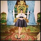 Giovanna Battaglia lounged on a throne after Dolce & Gabbana's Haute Couture show. Source: Twitter user DerekBlasberg