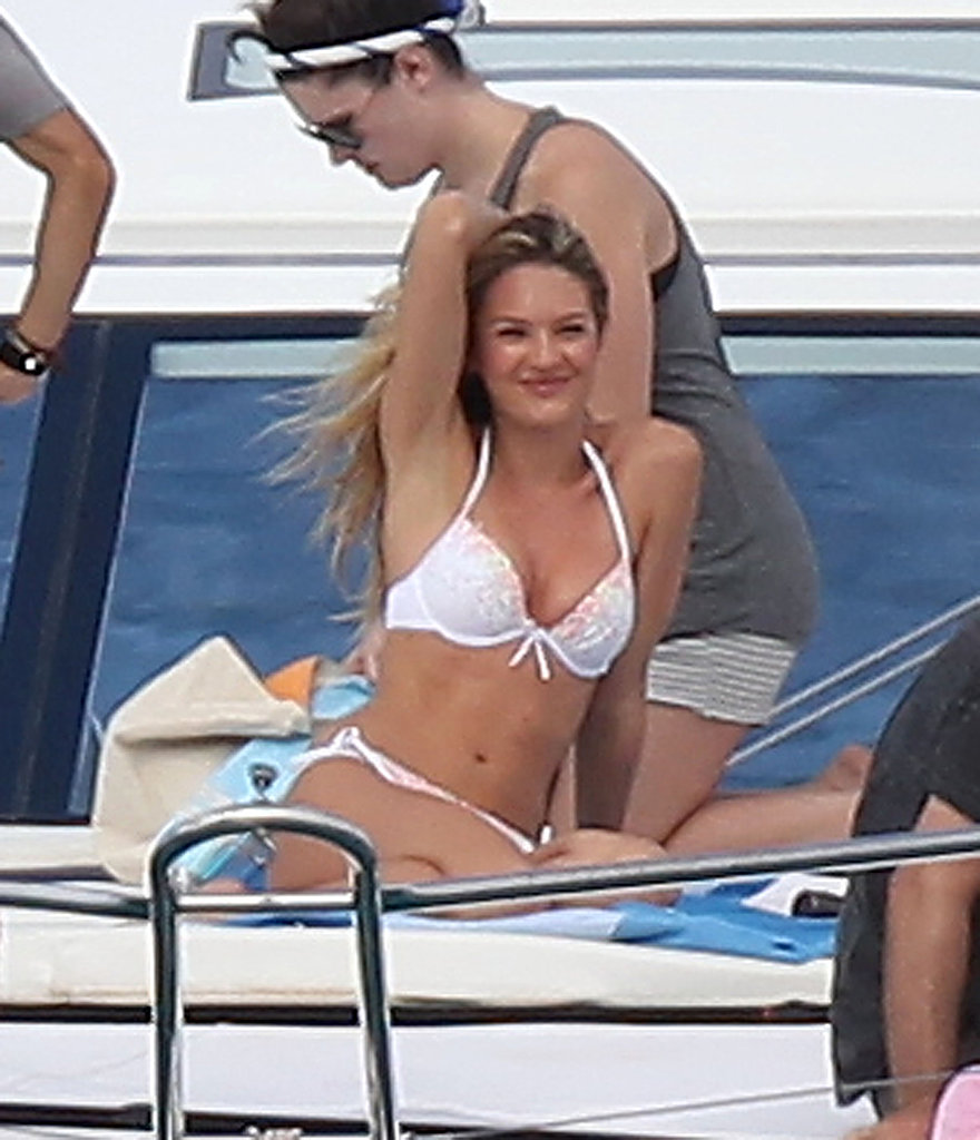 Candice Swanepoel climbed on board a yacht for a Victoria's Secret shoot in St. Barts.