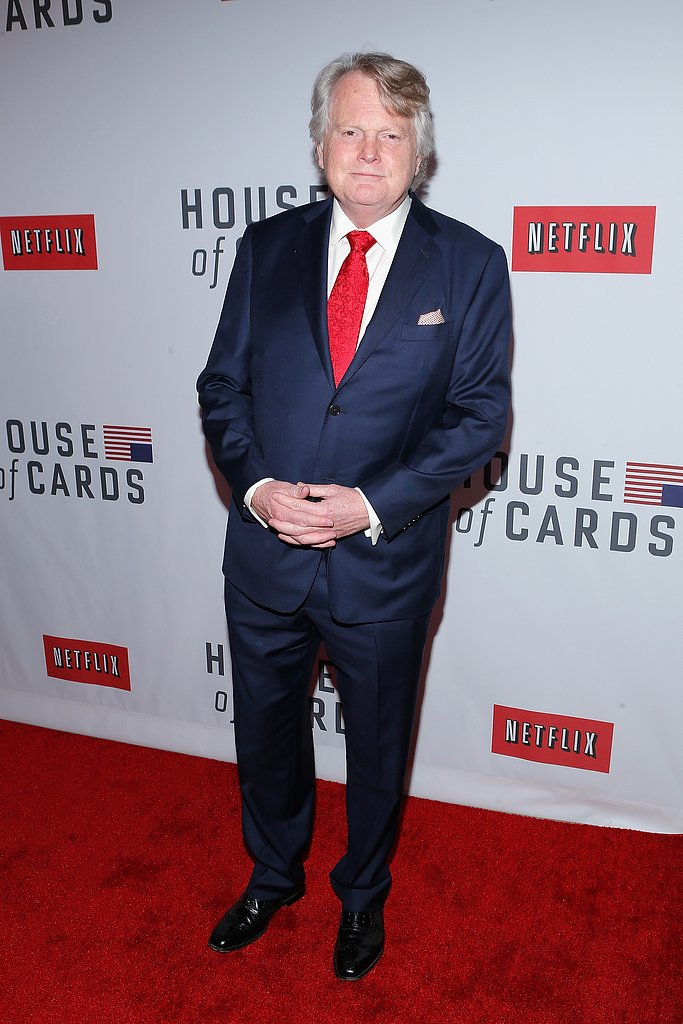 Michael Dobbs wore a classic navy suit.