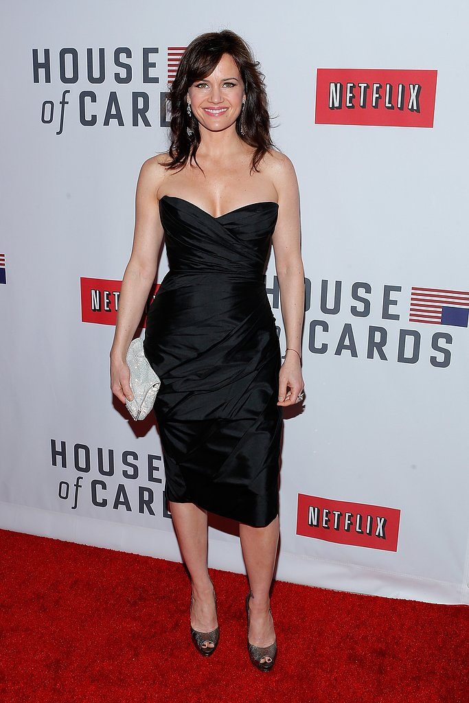 Carla Gugino wore a strapless dress.