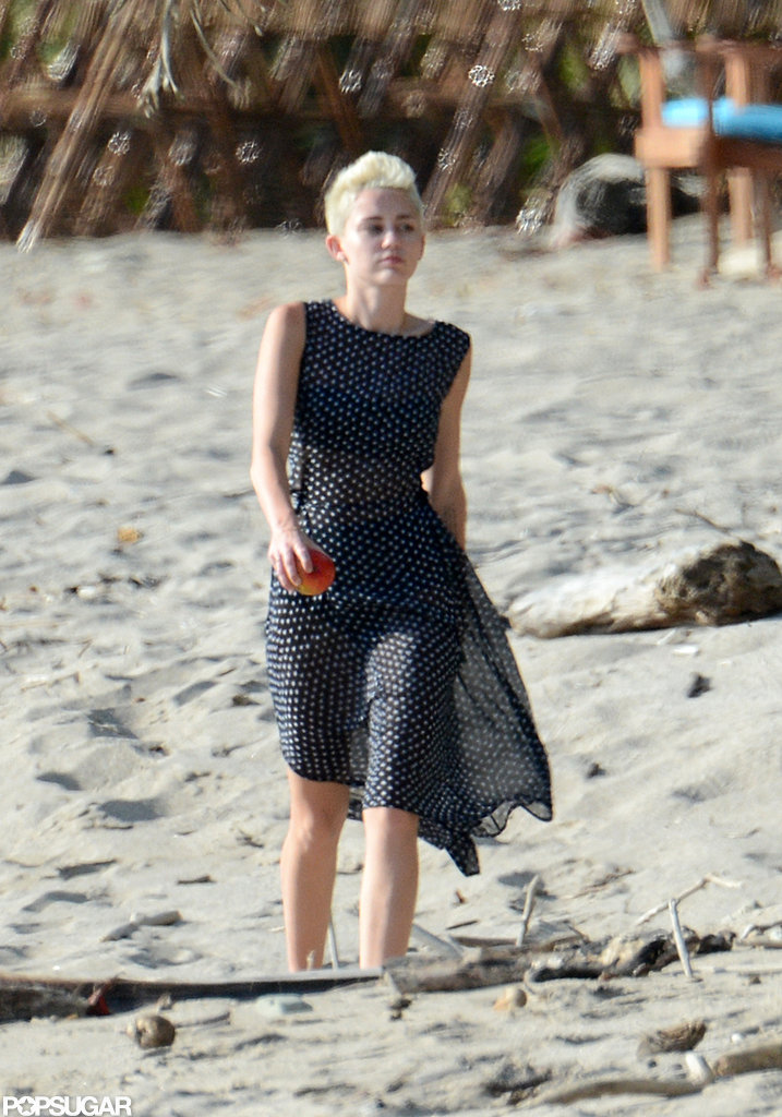 Miley Cyrus Works Out in a Bikini and Covers Up With Polka Dots