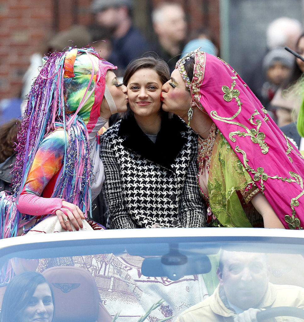 Marion Cotillard attended Harvard's Hasty Pudding Theatricals Woman of the Year parade ceremony, thrown in her honor, on Thursday.