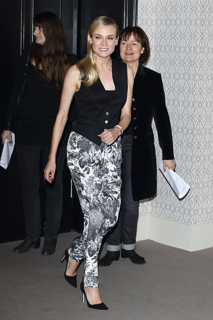 Diane Kruger wore floral pants and a black vest in Germany.