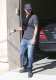 Eduardo Cruz left Eva Longoria's home in LA.