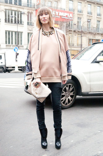 Pastels feel Winter-ready on sporty knits — and paired with skinnies and booties. Source: Adam Katz Sinding
