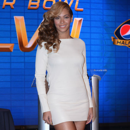 Beyonce Wearing White Dress at Super Bowl Press Conference