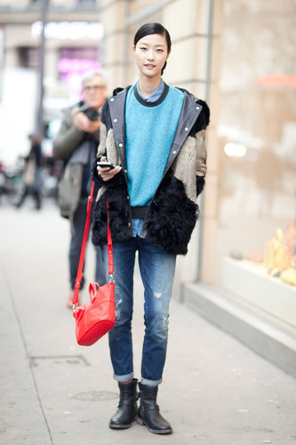 A shot of sky blue was an unexpectedly simple and powerful little update on this denim look. Source: Adam Katz Sinding