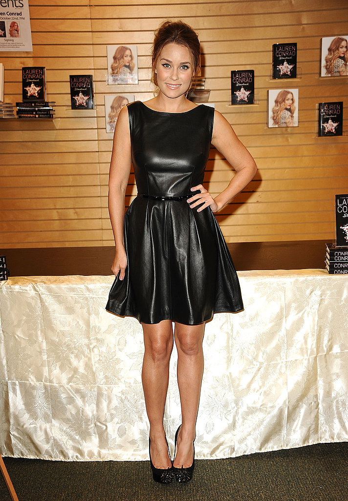 Lauren hopped on the leather dress train in a knee-length Johanna Johnson dress in 2012.