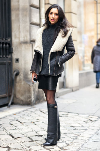Statement boots and a cozy, shearling-lined jacket made this mini Winter-weather-appropriate — and totally chic. Source: Adam Katz Sinding