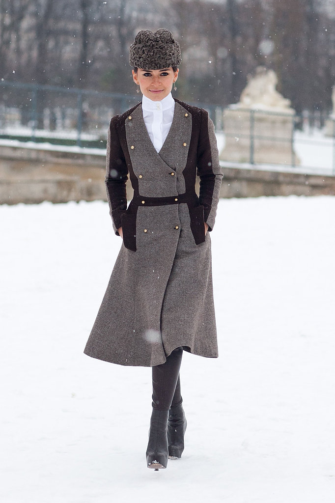 Miroslava Duma channeled Doctor Zhivago in a military coat and fur cossack hat.  Source: Le 21ème | Adam Katz Sinding