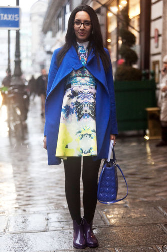 How's this for a twist? A bold printed dress and bright coat (to match!) offered a serious upgrade on the typical Winter styling formula. Source: Adam Katz Sinding