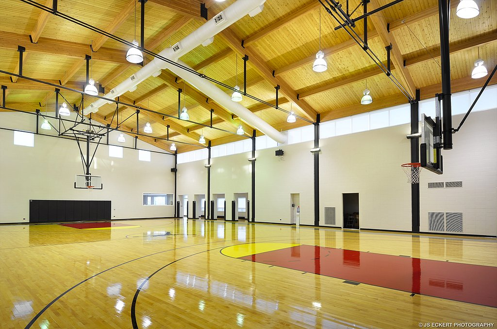 The indoor basketball court boasts motorized backboards, cushioned floors and a premium sound system.  We're sold! Now there's just the small detail of writing the multimillion-dollar check.