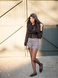 Sheer Blouse & High Waisted Jacquard Shorts