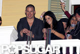 Channing Tatum threw beads off a balcony with Ashley Greene and friends Friday at a bash at his bar in New Orleans.