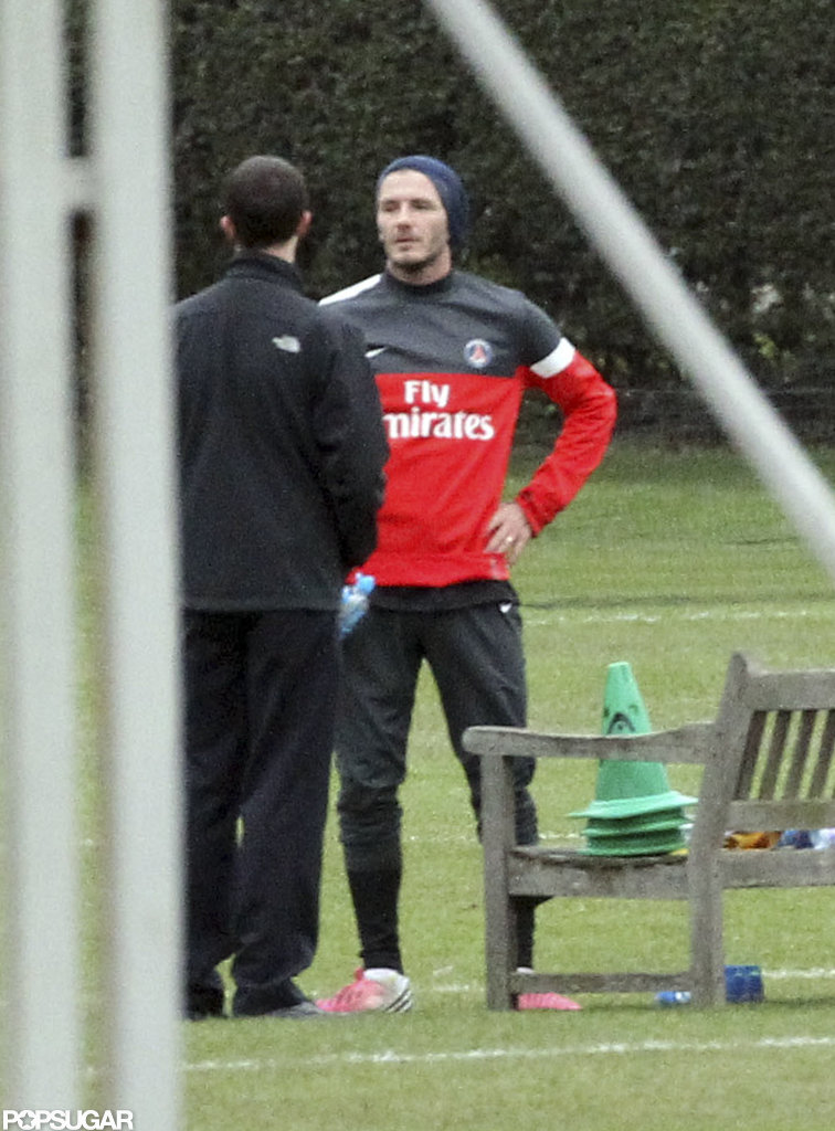 David Beckham trained with Paris Saint-Germain in London.