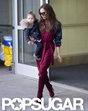Victoria Beckham and a Warmly Dressed Harper Arrive in Town For NYFW