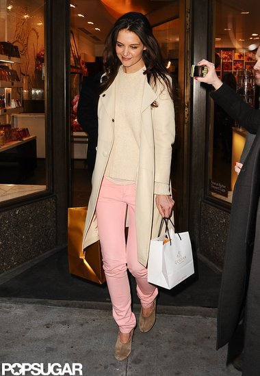Katie Holmes visited a Godiva store in NYC on Thursday.