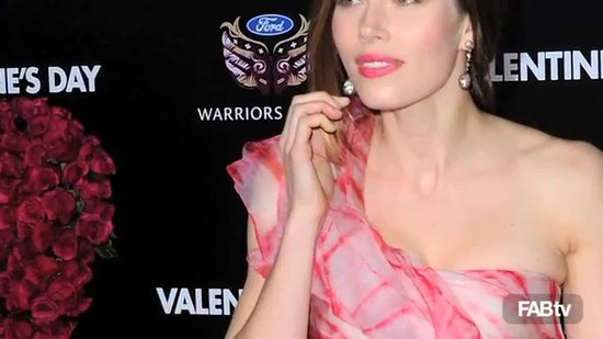 Jessica Biel in Floral Oscar de la Renta at Valentine's Day Movie Premiere: CelebStyle