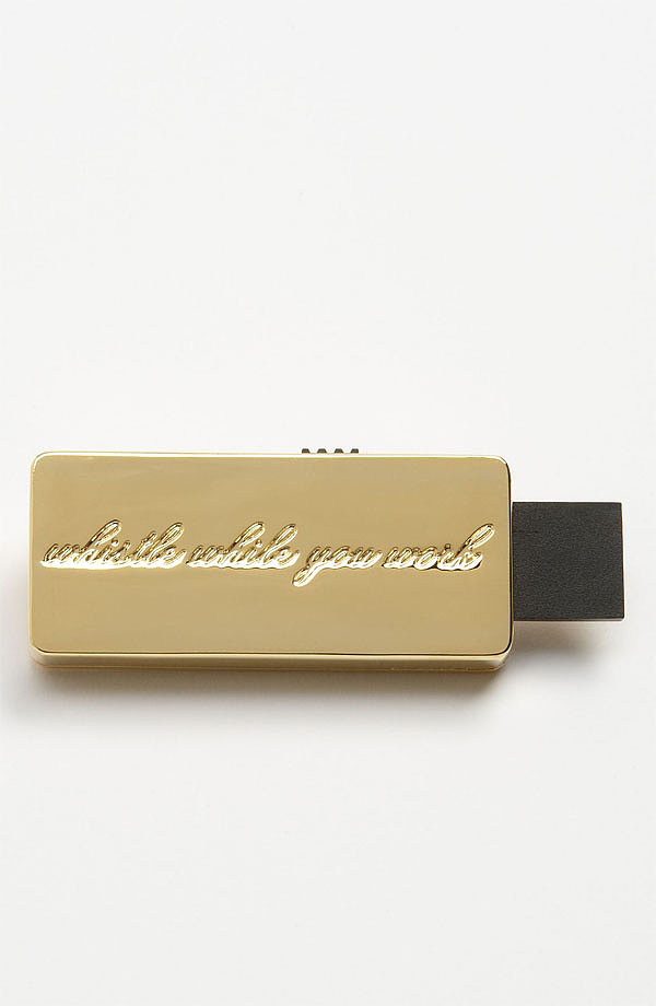 "This Kate Spade ""Whistle While You Work"" USB Drive ($50) will add a golden touch to your workday."