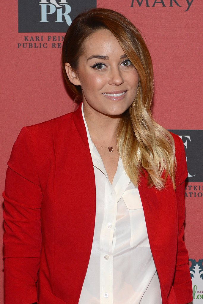 Lauren Conrad added this delicate Ariel Gordon signet dog tag necklace ($176-$590) to her white blouse and red blazer at an event in LA.
